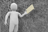 Composite image of white character holding envelope