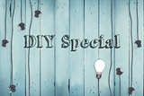 Diy special against plugs on wooden background
