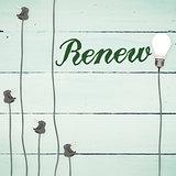 Renew against light bulbs on wooden background