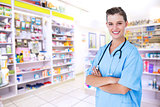 Composite image of happy nurse looking at camera with arms crossed