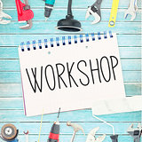 Workshop against tools and notepad on wooden background