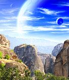 Fantastic landscape with planet