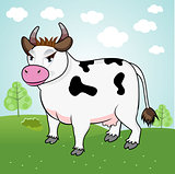 funny cow standing in a meadow