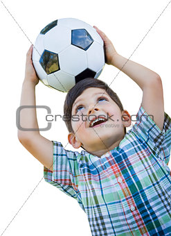 Cute Young Boy Holding Soccer Ball Isolated on White