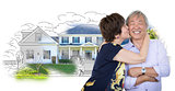 Senior Chinese Couple In Front of House Sketch Photo Combination