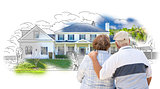 Embracing Senior Couple Over House Drawing and Photo on White