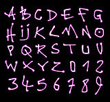 liquid font and number pink neon alphabet over black