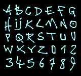 liquid font and number neon alphabet over black