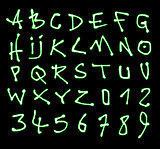 liquid font and number green neon alphabet over black