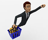 man flying upward carrying a basket containing percentage symbol concept