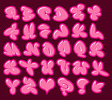 graffiti bubble gum pink vector fonts with gloss and color outli