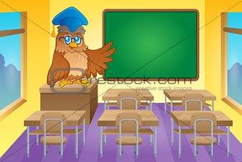 Classroom with owl teacher
