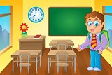 Classroom with schoolboy