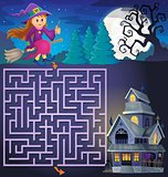 Maze 3 with cute witch and haunted house