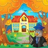 Owl teacher near school building theme 2