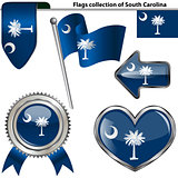 Glossy icons with flag of South Carolina
