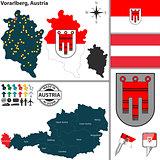 Map of Vorarlberg, Austria