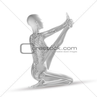 3D female medical figure in yoga position