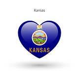 Love Kansas state symbol. Heart flag icon.