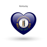 Love Kentucky state symbol. Heart flag icon.