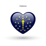Love Indiana state symbol. Heart flag icon.