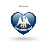 Love Louisiana state symbol. Heart flag icon.