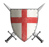 medieval crusader knight shield with cross red and two swords isolated