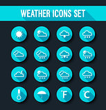 Flat weather icons set.