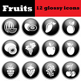 Set of fruit glossy icons