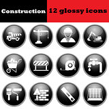 Set of construction glossy icons