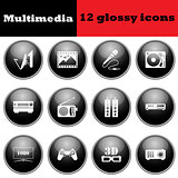 Set of multimedia glossy icons