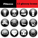 Set of fitness glossy icons
