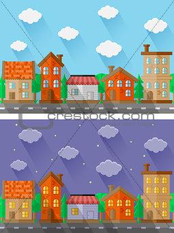 City landscapes. Flat design