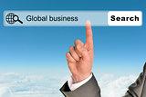 Businessmans hand on blue sky background