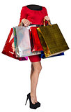 Woman body handing shopping bags
