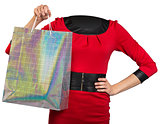 Woman body handing shopping bag