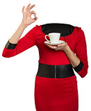 Woman body holding coffee cup