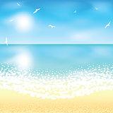 Sand beach at sunset time.