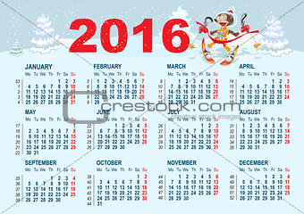 2016 Calendar template. Monkey goes skiing