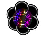 Six circles with neon effect inside rainbow