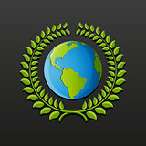 Eco symbol with earth and wreath of leaves. Vector illustration.