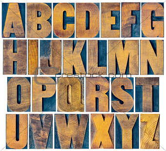 alphabet set in vintage letterpress wood type