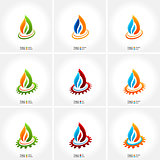 vector business emblem fire water set icon