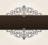 vector template for text. vintage frame decorated with antique o