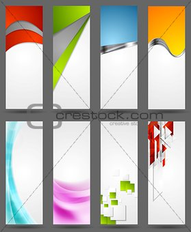 Abstract tech, metallic and wavy vertical banners