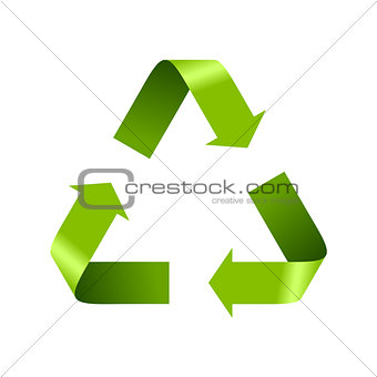 Green recycle logo sign isolated on white