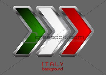 Abstract vector metallic arrow. Italian colors