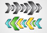 Abstract metallic arrows vector background