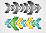 Abstract metallic arrows vector background