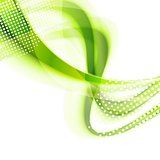 Abstract green smooth wavy bright background